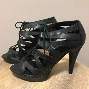 Chinese laundry Black Lace Up Cut Out Heels 👠